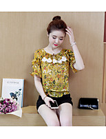Women's Casual/Daily Simple Summer Blouse Pant Suits,Floral Round Neck Short Sleeve