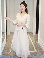 Women's Casual/Daily Simple Sexy Spring Summer Blouse Skirt Suits,Solid V Neck Short Sleeve