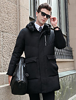 Men's Regular Down Coat,Active Casual/Daily Solid-Polyester White Duck Down Long Sleeves