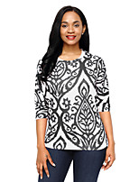 Women's Holiday Going out Cute Fall T-shirt,Print Round Neck Half Sleeves Polyester Spandex Medium