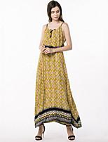 Women's Plus Size Boho Street chic Swing Dress,Print Strap Maxi Sleeveless Rayon Summer High Rise Micro-elastic Medium