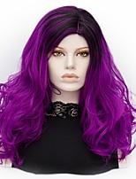 Femme Perruque Synthétique Sans bonnet Mi Longue Ondulation profonde Violet Cheveux Colorés Perruque Halloween Perruque Déguisement