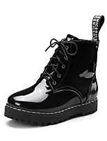 Women's Shoes Leatherette Fall Winter Comfort Boots Creepers Round Toe Booties/Ankle Boots Lace-up For Casual Dress Black
