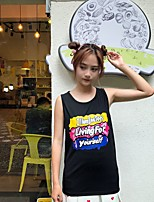 Women's Going out Casual/Daily Cute Summer Tank Top,Letter Round Neck Sleeveless Cotton Others Medium