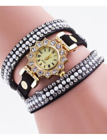 Women's Simulated Diamond Watch Quartz Leather Band Charm Elegant Black White Blue Red Brown Pink Navy Rose