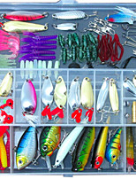 131 pcs Fishing Lures Jig Head Shad Grub Soft Jerkbaits Metal Bait Hard Bait Soft Bait Jigs Spoons Frog Minnow Crank Pencil Popper