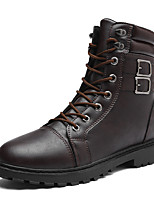 Men's Shoes Cowhide Fall Winter Combat Boots Boots Booties/Ankle Boots Split Joint Lace-up For Casual Party & Evening Dark Brown Black