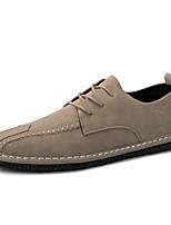 Для мужчин обувь Искусственное волокно Весна Осень Удобная обувь Кеды Шнуровка Назначение Повседневные Черный Хаки