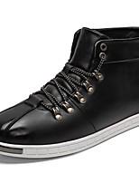 Для мужчин обувь Полиуретан Весна Осень Удобная обувь Кеды Шнуровка Назначение Повседневные Черный Красный