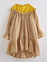 Girl's Plaid Dress,Cotton Fall ¾ Sleeve