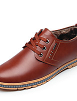Men's Shoes Leather Fall Winter Comfort Oxfords Lace-up For Casual Office & Career Brown Black