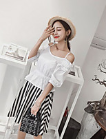 Women's Going out Simple Summer Shirt Skirt Suits,Solid Striped Strap Short Sleeve
