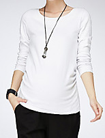 Women's Work Simple Fall Winter ShirtSolid Round Neck Long Sleeves Polyester Medium