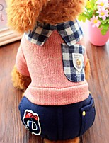 Dog Shirt / T-Shirt Clothes/Jumpsuit Dog Clothes Casual/Daily British Blushing Pink Blue