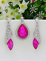 Women's Drop Earrings Pendant Necklaces AAA Cubic Zirconia Classic Elegant Crystal Cubic Zirconia Drop Earrings Necklace For Wedding