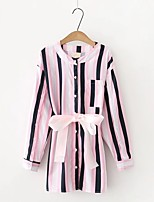 Для женщин На выход На каждый день Весна Осень Рубашка Воротник-стойка,Секси Простое Уличный стиль Полоски Контрастных цветов Длинный