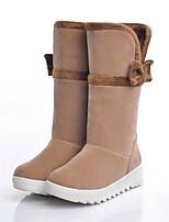 Feminino Sapatos Flocagem Outono Inverno Conforto Botas de Neve Botas Rasteiro Ponta Redonda Botas Cano Médio Laço Para Casual Preto