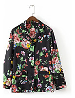 Women's Casual/Daily Sexy Simple Street chic Spring Fall Shirt,Floral Shirt Collar Long Sleeves Others Thin Medium