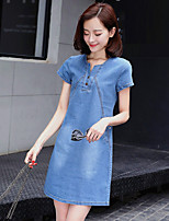 Women's Plus Size Going out Sexy Cute Street chic Sheath Denim Dress,Solid Patchwork Round Neck Above Knee Short Sleeves Polyester Summer