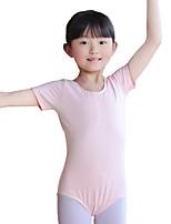 Balé Malha Mulheres Crianças Treino Algodão 1 Peça Manga Curta Natural Malha Collant