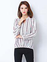 Women's Casual/Daily Simple Shirt,Striped V Neck Long Sleeves Polyester