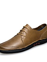Men's Shoes Real Leather Cowhide Nappa Leather Fall Winter Moccasin Driving Shoes Comfort Oxfords Lace-up For Casual Office & Career