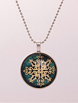 Women's Pendant Necklaces Circle Snowflake Alloy Vintage Jewelry For Gift Evening Party