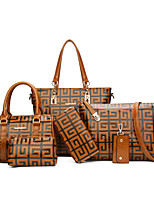 Women Bags All Seasons PU Bag Set Pattern / Print for Casual Office & Career Blue Red Dark Green Brown