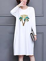 Ample Robe Femme Décontracté / Quotidien Grandes Tailles simple,Imprimé Col Arrondi Mi-long Manches Longues Polyester Automne Taille