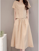Women's Going out Casual/Daily Street chic Summer T-shirt Skirt Suits,Solid Round Neck Short Sleeve Inelastic