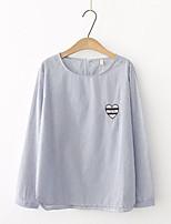 Camicia Da donna Per uscire Casual Semplice Romantico Moda città Primavera Autunno,A strisce Ricamato Rotonda Cotone Manica lunga Sottile