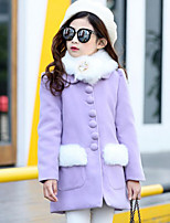 Girls' Solid Print Jacket & Coat,Acrylic Polyester Fall Winter Long Sleeve
