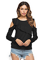 Women's Holiday Casual/Daily Street chic Fall Winter T-shirt,Solid Round Neck Long Sleeves Cotton