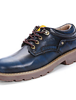 Men's Shoes Real Leather Fall Winter Comfort Oxfords Lace-up For Office & Career Party & Evening Blue Brown