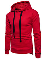 Men's Sports Casual/Daily Simple Hoodie Solid Hooded Micro-elastic Cotton Acrylic Long Sleeve Fall Winter