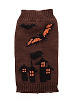 Dog Sweater Dog Clothes Halloween Geometric Brown