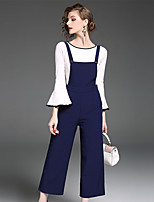 YIYEXINXIANG Women's Casual/Daily Work Simple Fall T-shirt Pant Suits,Solid Round Neck Long Sleeve