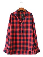 Women's Casual/Daily Cute Spring Fall Shirt,Color Block Plaid Shirt Collar Long Sleeves Cotton Others Thin Medium