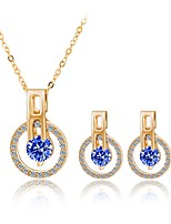 Women's Fashion Simple Style Rhinestone Gold Plated Earrings Necklace For Wedding Office & Career Wedding Gifts