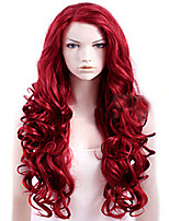Women Synthetic Wig Capless Long Natural Wave Deep Wave Red Natural Hairline Layered Haircut Party Wig Natural Wigs Costume Wigs