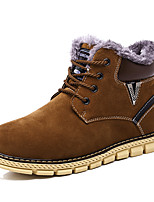 Men's Shoes Suede Fall Winter Snow Boots Bootie Combat Boots Boots Booties/Ankle Boots Lace-up For Casual Outdoor Brown Dark Blue