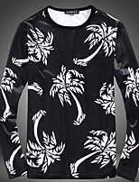 Men's Casual/Daily Simple Sweatshirt Solid Print Round Neck Micro-elastic Others Long Sleeve Fall
