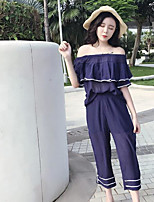 Women's Going out Vintage Summer Blouse Pant Suits,Solid Boat Neck Short Sleeve