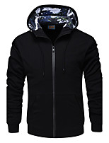 Men's Sports Casual/Daily Simple Hoodie Solid Hooded Micro-elastic Polyester Long Sleeve Fall Winter