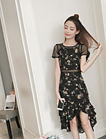 Women's Casual/Daily Simple Summer Blouse Skirt Suits,Print Round Neck Short Sleeve Micro-elastic