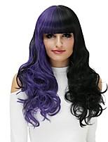 Femme Perruque Synthétique Sans bonnet Long Ondulation Prononcée Noir / Violet Perruque Halloween Perruque Déguisement