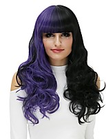 Mulher Perucas sintéticas Sem Touca Longo Ondas Leves Preto/Roxo Peruca de Halloween Perucas para Fantasia