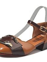 Damen Schuhe PU Herbst Komfort High Heels Niedriger Absatz Runde Zehe Kombination Für Normal Beige Grün Hellbraun
