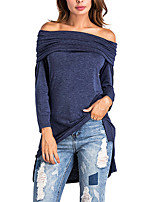 Women's Going out Club Sexy Street chic Spring Fall T-shirt,Solid Boat Neck Long Sleeves Polyester Medium