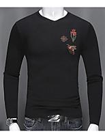 Standard Cardigan Da uomo-Casual Tinta unita Con stampe Rotonda Manica lunga Cotone Primavera Autunno Medio spessore Media elasticità